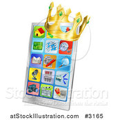 Vector Illustration of a 3d Crown on a Smart Phone with App Icons on the Screen by AtStockIllustration