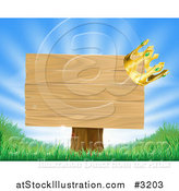 Vector Illustration of a 3d Crown on a Wooden Sign with Rays and Grass by AtStockIllustration