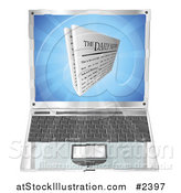 Vector Illustration of a 3d Daily Newspaper over a Laptop Computer by AtStockIllustration