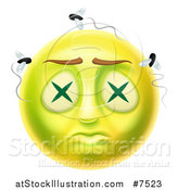 Vector Illustration of a 3d Dead Rotting Smiley Emoji Emoticon Face with Flies by AtStockIllustration