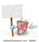 Vector Illustration of a 3d Desk Calendar Presenting and Holding a Sign by AtStockIllustration