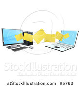 Vector Illustration of a 3d Desktop and Laptop Computer Transfering Files for Backups by AtStockIllustration