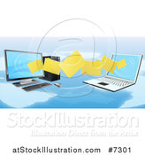 Vector Illustration of a 3d Desktop and Laptop Computer Transfering Files for Backups over a Map by AtStockIllustration