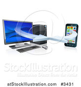Vector Illustration of a 3d Desktop Computer and Cell Phone Syncing Together by AtStockIllustration