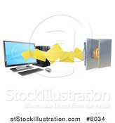 Vector Illustration of a 3d Desktop Computer Moving Files to an Open Vault Safe by AtStockIllustration