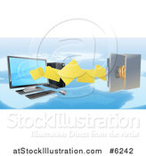 Vector Illustration of a 3d Desktop Computer Moving Files to an Open Vault Safe over a Map by AtStockIllustration