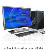 Vector Illustration of a 3d Desktop Personal Computer Work Station by AtStockIllustration