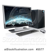 Vector Illustration of a 3d Destkop Pc with a Globe and Network Connections on the Screen by AtStockIllustration