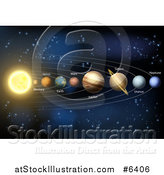Vector Illustration of a 3d Diagram of Planets in Our Solar System and Their Names by AtStockIllustration