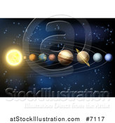 Vector Illustration of a 3d Diagram of Planets in Our Solar System by AtStockIllustration