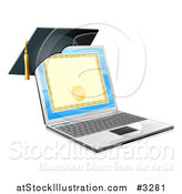 Vector Illustration of a 3d Diploma or Degree on a Laptop Screen with a Graduation Cap by AtStockIllustration