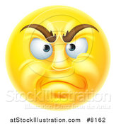 Vector Illustration of a 3d Disapproving Yellow Male Smiley Emoji Emoticon Face by AtStockIllustration