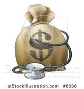 Vector Illustration of a 3d Dollar Symbol Money Bag and Stethoscope by AtStockIllustration