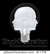 Vector Illustration of a 3d Double Profiled Faces Light Bulb on Black by AtStockIllustration