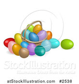 Vector Illustration of a 3d Dyed Easter Eggs and a Basket by AtStockIllustration