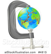 Vector Illustration of a 3d Earth Cracking in a Tight Clamp by AtStockIllustration