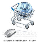 Vector Illustration of a 3d Earth Globe in a Shopping Cart Connected to a Computer Mouse by AtStockIllustration