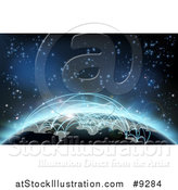 Vector Illustration of a 3d Earth Globe with Glowing Flight Paths Against Outer Space by AtStockIllustration