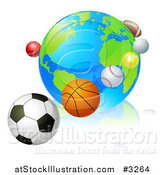 Vector Illustration of a 3d Earth Globe with Sports Balls in Orbit Around It by AtStockIllustration