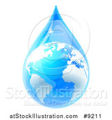 Vector Illustration of a 3d Earth in a Blue Water Droplet by AtStockIllustration