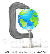 Vector Illustration of a 3d Earth in a Tight Clamp by AtStockIllustration