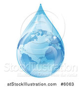 Vector Illustration of a 3d Earth in a Water Droplet by AtStockIllustration