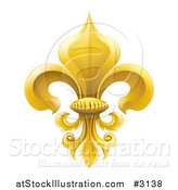 Vector Illustration of a 3d Elegant Golden Fleur De Lis Lily Symbol by AtStockIllustration