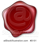 Vector Illustration of a 3d Embossed Red Wax Seal by AtStockIllustration