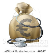 Vector Illustration of a 3d Euro Currency Symbol Money Bag and Stethoscope by AtStockIllustration