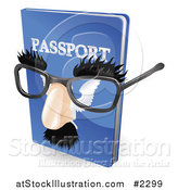 Vector Illustration of a 3d False Nose and Glasses on a Passport by AtStockIllustration