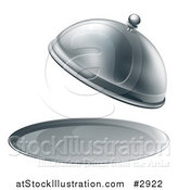 Vector Illustration of a 3d Fancy Silver Cloche Fine Dining Platter with an Open Lid by AtStockIllustration