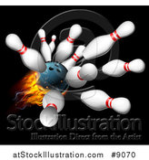 Vector Illustration of a 3d Fiery Bowling Ball Crashing into Pins over Black by AtStockIllustration
