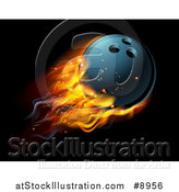 Vector Illustration of a 3d Fiery Bowling Ball Flying over Black by AtStockIllustration