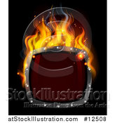Vector Illustration of a 3d Fiery Hot Shield on Black by AtStockIllustration