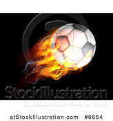 Vector Illustration of a 3d Flaming Soccer Ball Flying over Black by AtStockIllustration