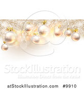 Vector Illustration of a 3d Flocked Christmas Tree Branches with Baubles over Snowflakes and Flares by AtStockIllustration