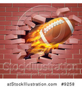 Vector Illustration of a 3d Flying and Blazing American Football with a Trail of Flames, Breaking Through a Brick Wall by AtStockIllustration