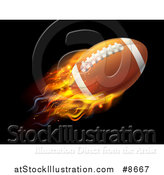 Vector Illustration of a 3d Flying and Blazing American Football with a Trail of Flames, on Black by AtStockIllustration