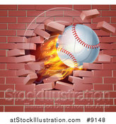 Vector Illustration of a 3d Flying and Blazing Baseball with a Trail of Flames, Breaking Through a Brick Wall by AtStockIllustration