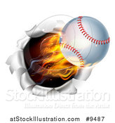 Vector Illustration of a 3d Flying and Blazing Baseball with a Trail of Flames, Breaking Through a Wall by AtStockIllustration