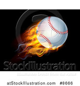 Vector Illustration of a 3d Flying and Blazing Baseball with a Trail of Flames, on Black by AtStockIllustration