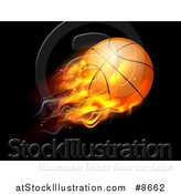 Vector Illustration of a 3d Flying and Blazing Basketball with a Trail of Flames, on Black by AtStockIllustration