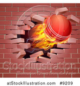 Vector Illustration of a 3d Flying and Blazing Cricket Ball Breaking Through a Brick Wall by AtStockIllustration