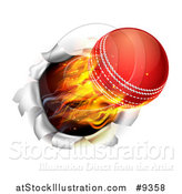 Vector Illustration of a 3d Flying and Blazing Cricket Ball Breaking Through a Wall by AtStockIllustration