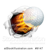 Vector Illustration of a 3d Flying and Blazing Golf Ball Breaking Through a Hole in a Wall by AtStockIllustration