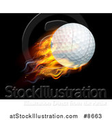 Vector Illustration of a 3d Flying and Blazing Golf Ball with a Trail of Flames, on Black by AtStockIllustration