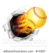 Vector Illustration of a 3d Flying and Blazing Softball with a Trail of Flames, Breaking Through a Wall by AtStockIllustration