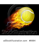 Vector Illustration of a 3d Flying and Blazing Tennis Ball with a Trail of Flames, on Black by AtStockIllustration