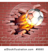 Vector Illustration of a 3d Flying Flaming Soccer Ball Breaking Through a Brick Wall by AtStockIllustration