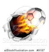 Vector Illustration of a 3d Flying Flaming Soccer Ball Breaking Through a Wall by AtStockIllustration